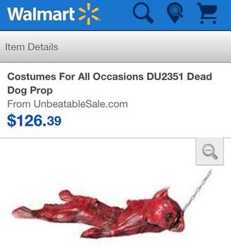 Gli amanti dei cani reagiscono con orrore dopo aver trovato cane morto prop venduti presso i rivenditori